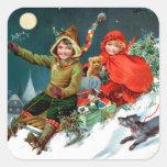 Rosa C. Petherick: El hacer compras del navidad Pegatina Cuadrada