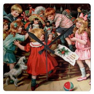 Rosa C. Petherick: La cesta del navidad Reloj Cuadrado