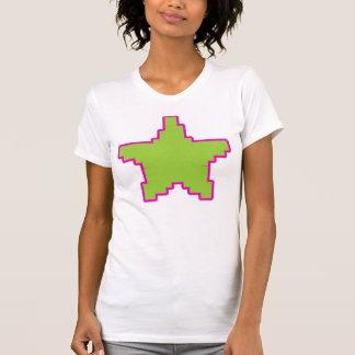 Rosa+Camiseta verde de la estrella del pixel Playera