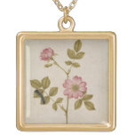Rosa Canina - Dogrose and Caterpillar (pencil & w/ Square Pendant Necklace