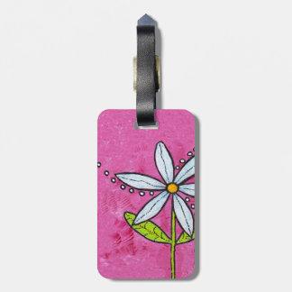 Rosa caprichoso de la flor de la margarita blanca etiquetas maleta