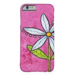 Rosa caprichoso de la flor de la margarita blanca funda de iPhone 6 barely there