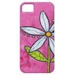 Rosa caprichoso de la flor de la margarita blanca iPhone 5 protector