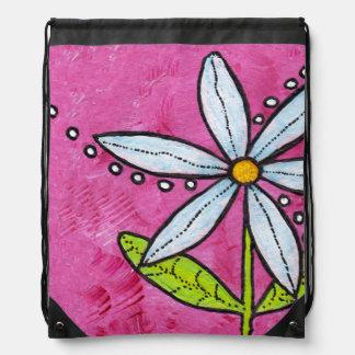 Rosa caprichoso de la flor de la margarita blanca mochila