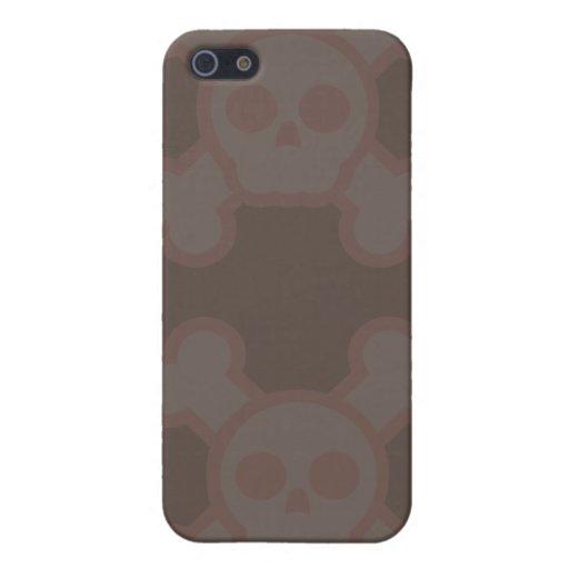 Rosa/caso de IPhone de los cráneos de Brown iPhone 5 Carcasa