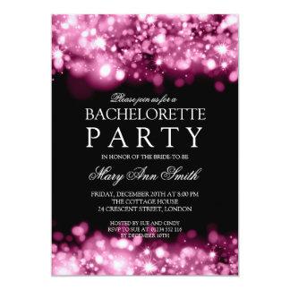 Rosa chispeante de las luces del fiesta elegante invitación personalizada