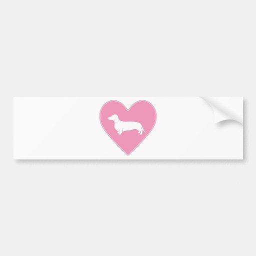 Rosa clásico del corazón del Dachshund Etiqueta De Parachoque