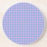 Rosa clásico y azul del diseño del tartán posavasos personalizados