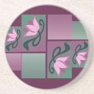 Rosa color de rosa Borgoña del vintage del nouveau Posavasos Diseño