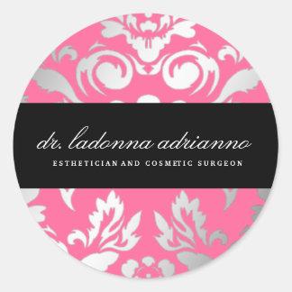 rosa color de rosa de damasco 311-Ladonna Pegatina Redonda