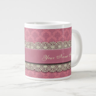 Rosa color de rosa de damasco taza grande