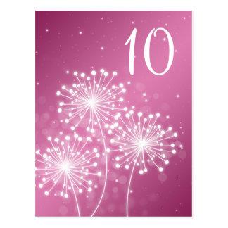 Rosa color de rosa de la tabla del número de la postal