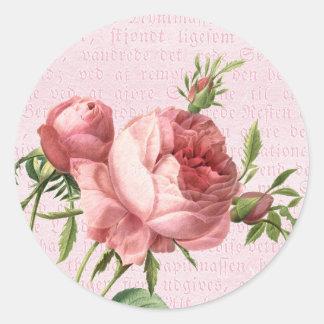 Rosa color de rosa del vintage femenino y hermoso pegatina redonda
