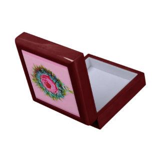 Rosa color de rosa floral retro del ramo caja de recuerdo