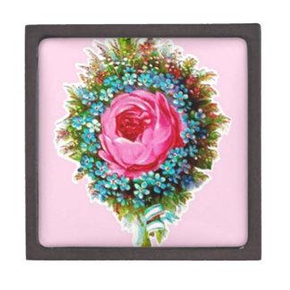 Rosa color de rosa floral retro del ramo caja de regalo de calidad