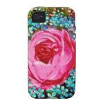 Rosa color de rosa retro del ramo floral del iPhone 4 fundas