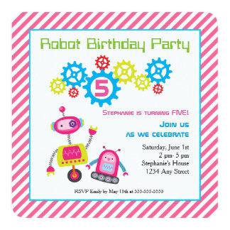 """Rosa colorido fresco del robot del cumpleaños de invitación 5.25"""" x 5.25"""""""