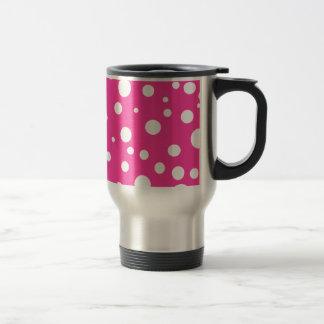 Rosa con diseño adaptable de los lunares blancos taza de viaje de acero inoxidable