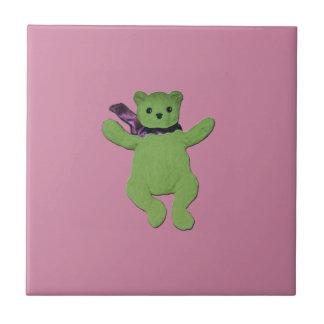 rosa con el oso de peluche verde azulejo cuadrado pequeño