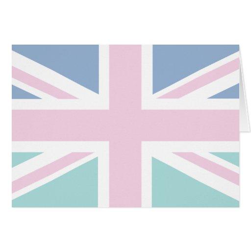 Rosa con la bandera verde y azul de Union Jack Bri Tarjetón