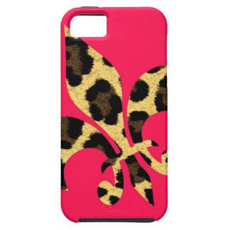 Rosa con la flor de lis del leopardo iPhone 5 cárcasa