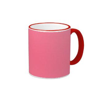 Rosa con la franja roja taza de dos colores