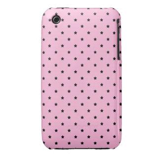 Rosa con las pequeñas estrellas negras iPhone 3 Case-Mate cobertura