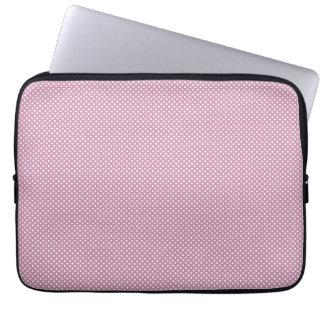 Rosa con los puntos blancos simples mangas portátiles
