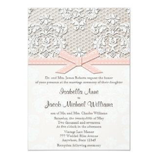 Rosa con monograma de las invitaciones del boda comunicado personal