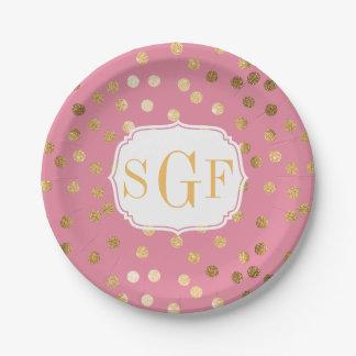 Rosa con monograma del caramelo y puntos de la plato de papel de 7 pulgadas