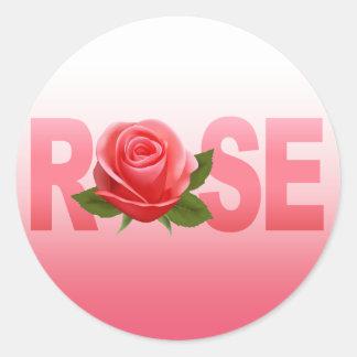 Rosa conocido color de rosa del ombre de la flor pegatina redonda