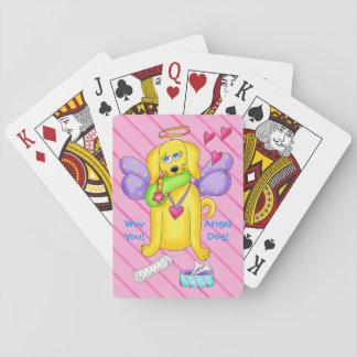 Rosa conocido personalizado perro lindo del ángel cartas de juego