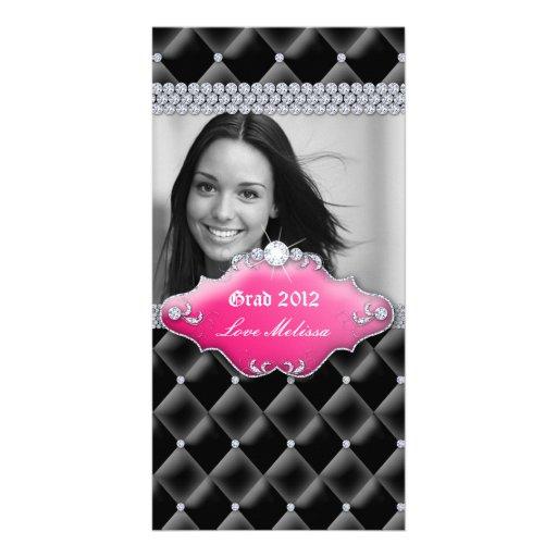 Rosa copetudo del dulce 16 de la joyería del satén tarjetas fotográficas personalizadas