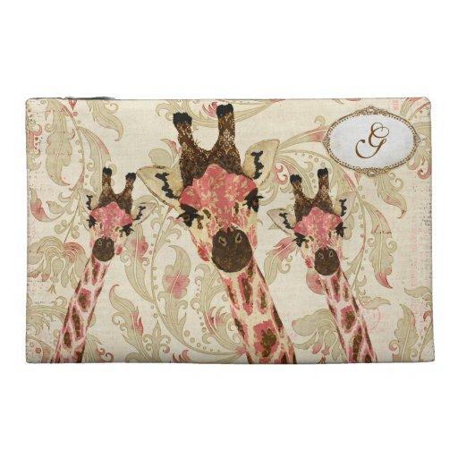 Rosa & Copper Giraffes Monogram Travel Bag Travel Accessories Bag