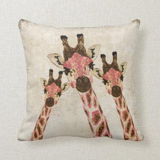 Rosa & Copper Giraffes White MoJo Pillow