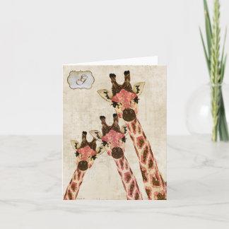 Rosa & Copper Giraffes  White Monogram Notecard