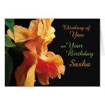 Rosa coralino, flor anaranjada de la macro del tarjeta pequeña