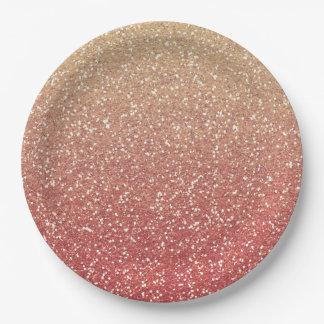 Rosa coralino y brillo del oro falso plato de papel de 9 pulgadas