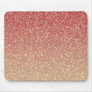 Rosa coralino y brillo del oro falso alfombrilla de ratón