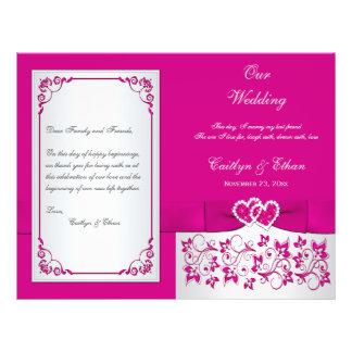 """Rosa, corazones florales de la plata que casan pro folleto 8.5"""" x 11"""""""