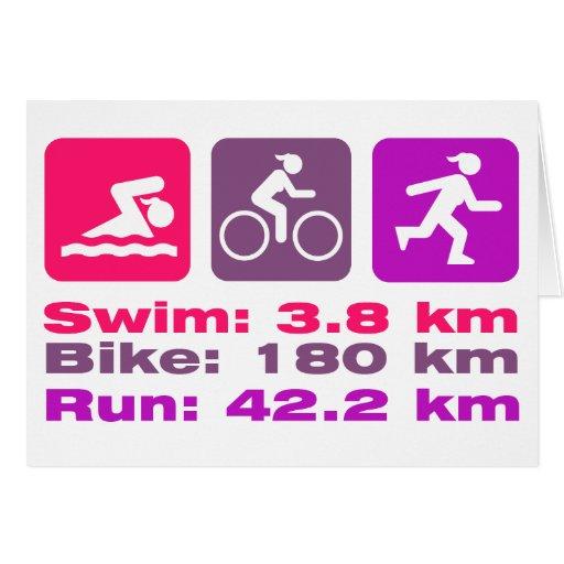 Rosa corrido bici femenina de la nadada del tarjeta de felicitación
