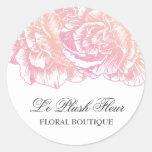 Rosa cremoso de 311 Le Plush Fleur Pegatinas Redondas