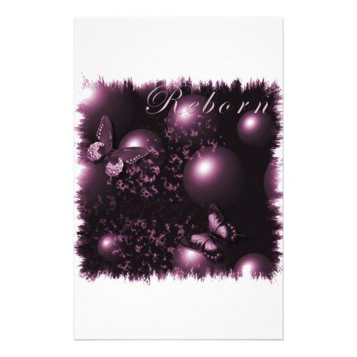 Rosa cristiano del arte de las mariposas renacidas papeleria de diseño