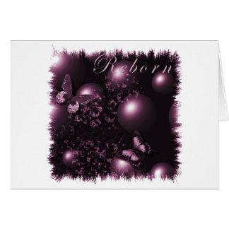 Rosa cristiano del arte de las mariposas renacidas tarjeta de felicitación