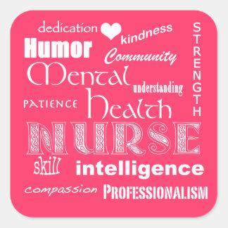 Rosa Cualidad-Caliente del orgullo de la enfermera Pegatinas Cuadradases Personalizadas