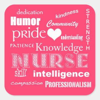 Rosa Cualidad-Caliente del orgullo de la enfermera Pegatina Cuadrada