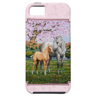 Rosa cuarto de la yegua y del potro del caballo iPhone 5 carcasas