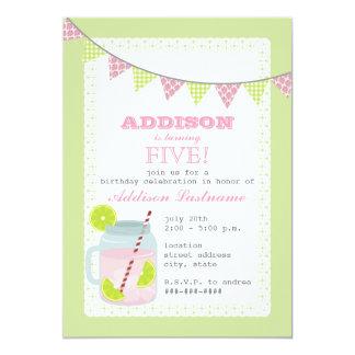"""Rosa + Cumpleaños verde de la limonada y de la cal Invitación 5"""" X 7"""""""