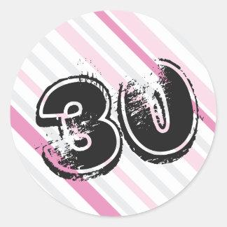 rosa de 30 años Bday - trigésimo cumpleaños Pegatina Redonda