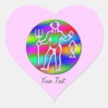 Rosa de arco iris de la muestra de la estrella del calcomanías de corazones